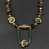 Necklace with Painted Spirals